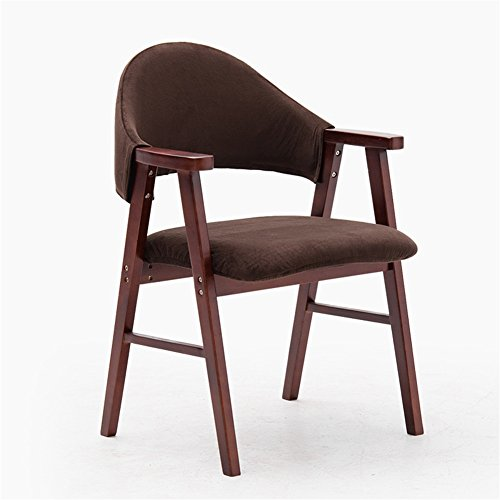 Chaise Longue En Bois Massif Avec Accoudoirs Et Dossier Tissu Brun 57 * 58.5 * 81.5cm (Couleur : Brown wood frame)