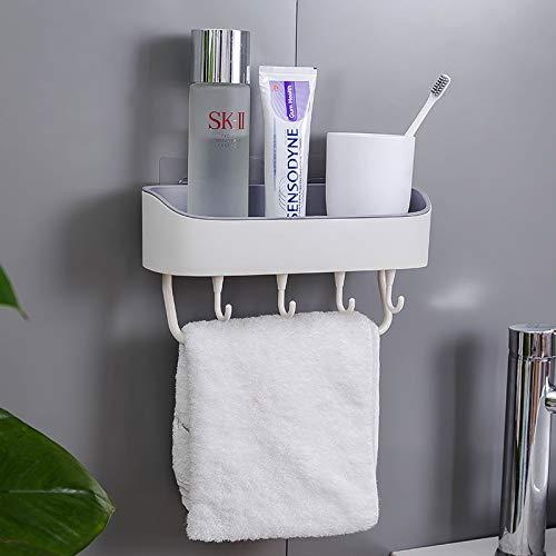LAZY CAT Estante de baño montado en la pared para almacenar champús, contenedor de plástico multifunción, organizador de especias de cocina, accesorios de baño (color blanco cremoso)