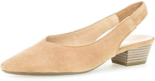 Gabor Damen Pumps, Frauen Sling-Pumps, Lady Ladies feminin elegant Women's Women Woman Freizeit leger Slingback Leder bequem,Caramel,39 EU / 6 UK