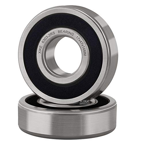 XiKe 2 Pcs 6303-2RS Double Rubber Seal Bearings 17x47x14mm, Pre-Lubricated and Stable Performance and Cost Effective, Deep Groove Ball Bearings.