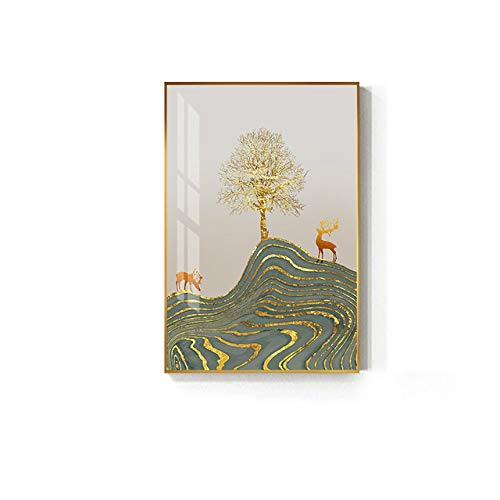 Canvas Painting Modern Golden Tree Deer Picture Luxury Green Poster Print for Living Room Wall Art 40x60cm