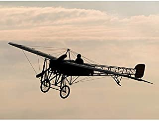 Herzog Restored Bleriot XI Aircraft Silhouette Photo Unframed Wall Art Print Poster Home Decor Premium