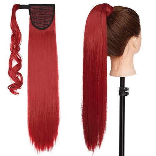 Ponytail Clip in Pferdeschwanz Extension Haarteil Haarverlängerung Zopf Hair Piece Glatt wie Echthaar Dunkelrot Glatt-23