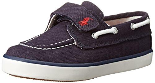 Polo Ralph Lauren Kids Sander EZ Canvas Fashion Boat Shoe (Toddler/Little Kid), Navy, 7.5 M US Toddler
