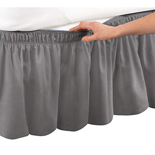 Collections Etc Wrap Around Bed Skirt, Easy Fit Elastic Dust Ruffle, Grey, Queen/King