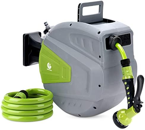 G GOOD GAIN Retractable Garden Hose Reel 9 Function Sprayer Gun with 5 8in 65 6 1 2 FT Hose product image