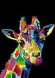 Graffiti animal art pintura sobre lienzo arte cartel impresión y arte mural jirafa cabeza sala de es...