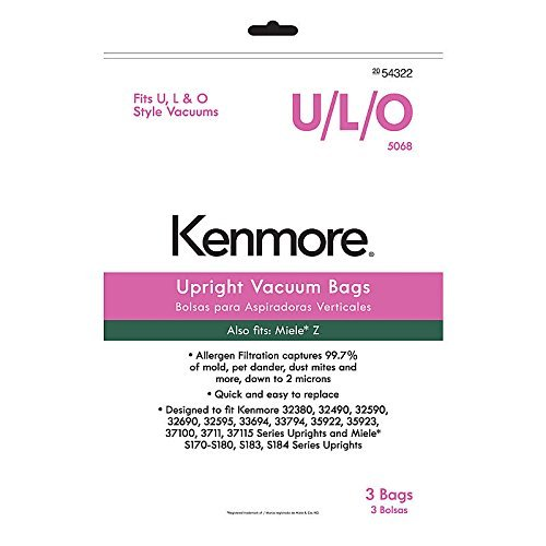 Kenmore 54322 3 Pack Style U/L/O Upright Vacuum Bags