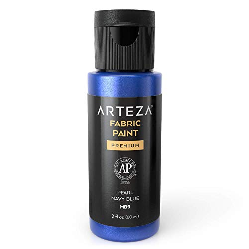 Arteza Permanent Fabric Paint MB9 Pearl Navy Blue, 60 ml Bottle, Washer & Dryer Safe, Textile Paint for Clothes, T-Shirts, Jeans, Bags, Shoes, DIY Projects & Canvas