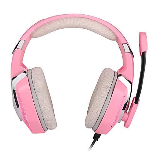 BANLV Auriculares de juego montados en la cabeza rosa con micrófono auriculares de juego con cable