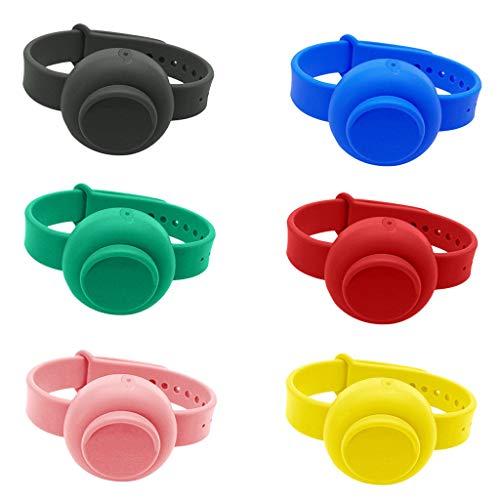6 Pezzi Braccialetto Disinfettante, Bracciale dispenser in silicone liquido riempibile, Braccialetto per dispenser a mano, Dispenser portatile