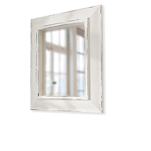 Loberon Spiegel Reed, Tannenholz/Spiegelglas, H/B/T ca. 68/58 / 5 cm, weiß