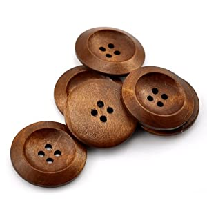 4 extra Large Brown coloured 4 hole Wooden Sewing Buttons
