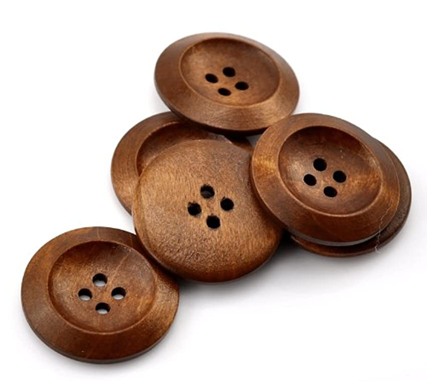 PEPPERLONELY Brand 50PC Brown 4 Hole Scrapbooking Sewing Wood Buttons 30mm(1-1/6 Inch)