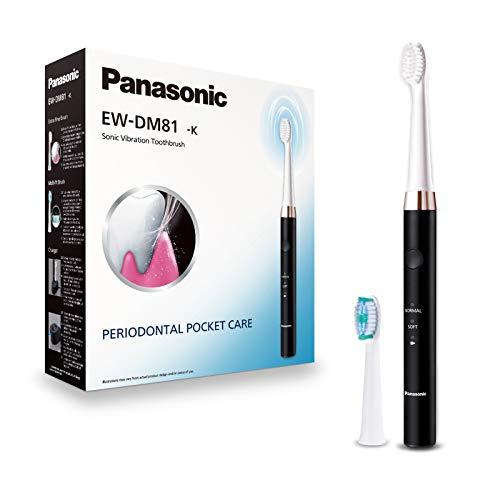 Panasonic EW-DM81-K503 Elektrische Zahnbürste, 2 Aufsteckbürsten, Timer, 2 Betriebsmodi, ergonomisches Design, 31.000 Bewegungen pro Minute, Schallschwingungen, Schwarz