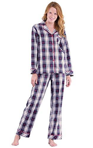 PajamaGram Flannel Pajamas for Women - Christmas Pajamas Women, Snow, M 8-10
