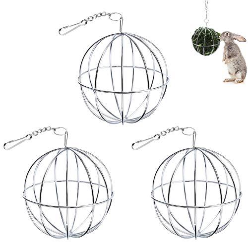 3 Piezas Bolas Heno Alimentador De Heno De Acero Inoxidable Bola Comedero Conejo Dispensador Pelota De Hierba para Mascotas Alimentador De Alimento para Conejos Cobayas HáMsteres Animales PequeñOs