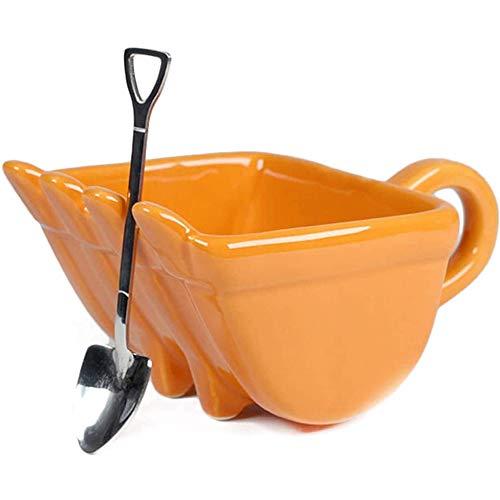 Juyuntong personalisierte Bagger Eimer Kaffeetasse - 330ml Kreative Baumaschine Bagger Löffel Eimer Tasse, Zigarre Whisky Aschenbecher Kaffee Tee Tasse (Orange)