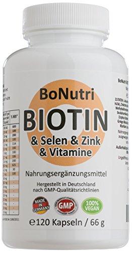 SONDERPREIS! Biotin & Selen & Zink & Vitamine 120 vegane Kapseln 2-Monatsbedarf Ohne Magnesiumstearat Vegan Glutenfrei Laktosefrei Qualität aus Deutschland Haare Haut Nägel Hochdosiert Rückgaberecht