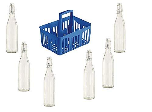 BuyStar Cestello portabottiglie 6 Scomparti per Bottiglie da 1lt con Manici + 6 Bottiglie Milly da 1lt in Vetro Cassetta Porta Bottiglie con Bottiglie di Vetro