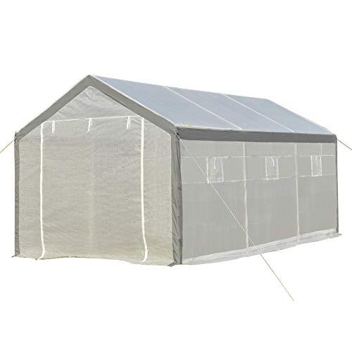Outsunny Invernadero de Jardín 600x300x280 cm Caseta para Cultivo de Plantas Verduras con 2 Puertas y 6 Ventanas Enrollables Blanco