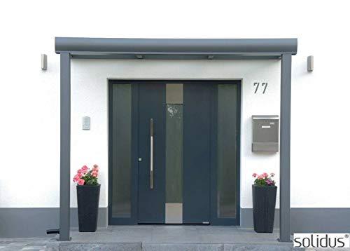 206 x 100 cm solidSMART Aluminium Haustür Vordach mit 8mm VSG/Glas - Komplett-Set - Jedes Maß möglich !