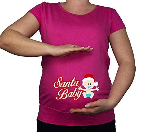 Kleur Mode Zwangerschap Maat 10-20 Katoen Santa Baby Print Top Tuniek T-Shirt