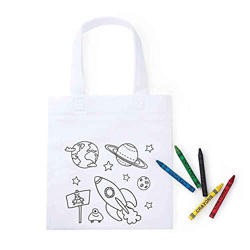 Lote 30 Bolsas Infantiles para Colorear Espacio con Paquete de 5 Ceras Cada Bolsa.