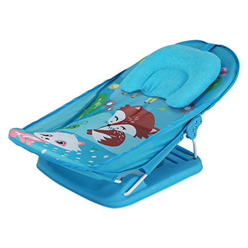 LuvLap Wild Woods Baby Bather for Newborn and Infants, Compact and Foldable, 0 - 6 Months (Blue)