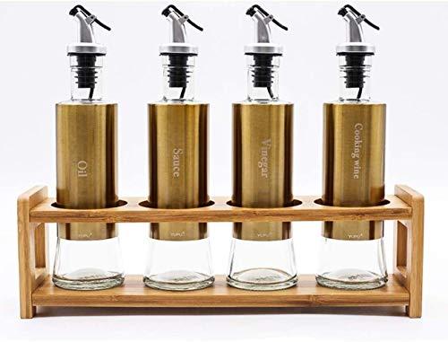 Condiment bottles Strong Kitchen Supplies Salt Shaker Seasoning Box Seasoning Bottle Creative Vertical Seasoning Box Seasoning Pot Kitchenware (Color : Gold Set of 4)