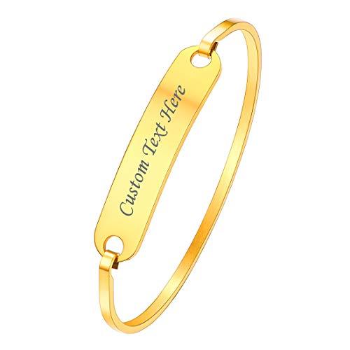 U7 Brazalete Dorado con Tabla grabada Nombre Pulsera Dura para Mujeres Material Acero Inoxidable Tono Oro 18k Regalo Parejas joyerías Modernas de Manos