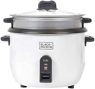 Black+Decker Rice Cooker 1100W, White, 2.8 litres, Rc2850-B5, 2 Year Warranty