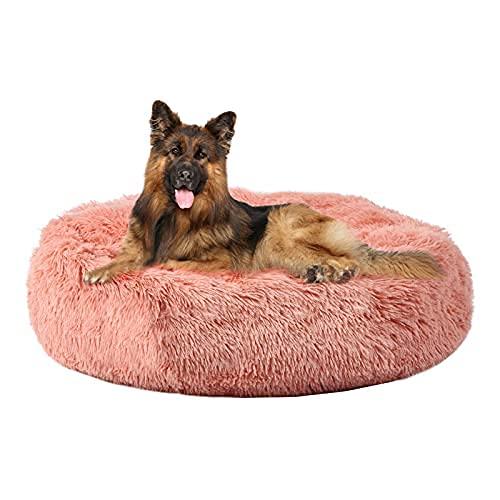 Annety Cama Perros Redonda cojín Gatos sofá para Perros Donut (X-Large, Rosado)