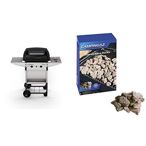 Campingaz Expert Deluxe Pietre Laviche, Grill Barbecue Compatto a Gas con 2 Bruciatori, Potenza 7 kW, Cavo in Acciaio Cromato, 2 Ripiani Laterali & Roccia Lavica
