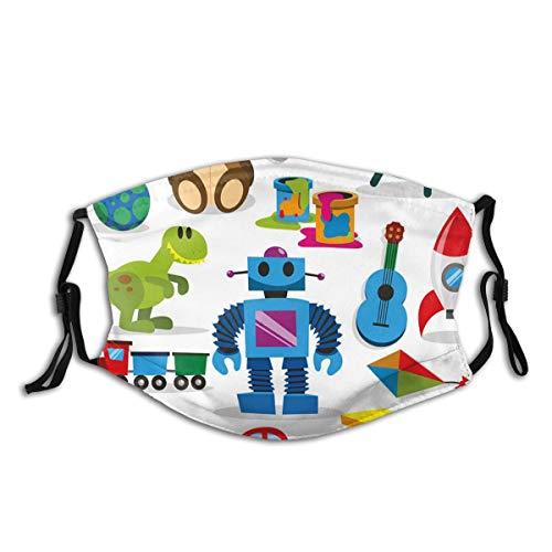KIMDFACE Gesichtsbedeckung,Buntes Spielzeug mit Cartoon Art Style Roboter und Dinosaurier Schiff Controller UFO,Sturmhaube Wiederverwendbar Winddicht Staubschutz Mund Bandanas Outdoor Mit 2 Filtern