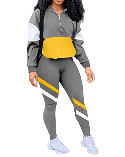 EOSIEDUR Women's Two Piece Outfits Zip Top Jacket and Elastic Waistband Pant Women Sweatsuit Tracksuit Sets, Gray M