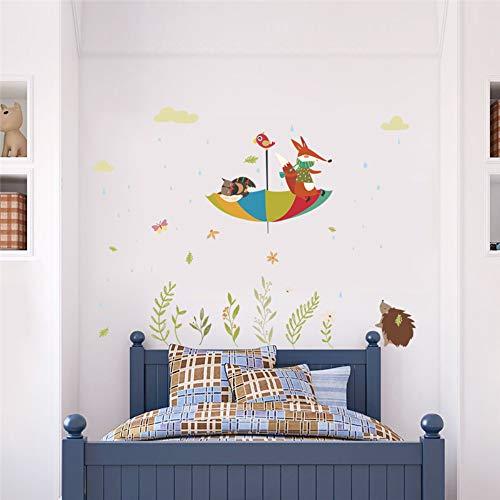 Leuke uil Fox Vogel paraplu In de regen muurtattoos voor kinderkamer wooncultuur cartoon dieren sticker pvc muur kunst DIY poster 105x120cm