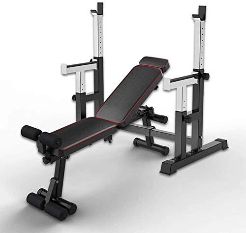 Cnley Set de combinación de press de banca para sentadillas, banco de prensa, barra de pesas ajustable para gimnasio, máquina multifuncional de fitness para el hogar (color +banco de pesas)