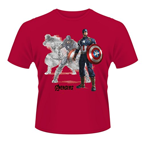 Plastic Head Avengers Age of Ultron Captain A Draw T-Shirt, Rouge-Rouge, Medium Homme