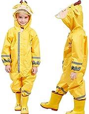 Regenjas voor kinderen, waterdichte overall met capuchon, regenpak voor jongens en meisjes, regenbestendig, 3-10 jaar