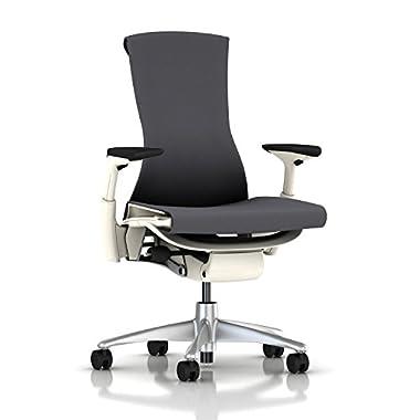 Herman Miller Embody Chair: Fully Adj Arms - White Frame/Titanium Base - Standard Carpet Casters