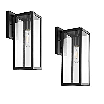 "Bestshared Outdoor Wall Lantern, 15""1-Light Exterior Wall Sconce Light Fixtures,Wall Mounted Single Light, Black Wall Lamp with Clear Glass (2 Pack)"