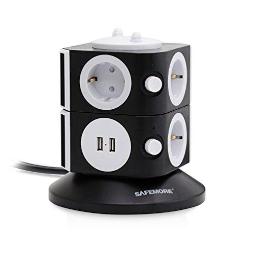 SAFEMORE Stekkerdoos, Meervoudige Stekkerdoos, 7 Vakken met 2 USB-aansluitingen, Overspanningsbeveiliging, Afzonderlijk Schakelbaar en Verlengsnoer 2m 2500 W/10 A - Zwart + Wit