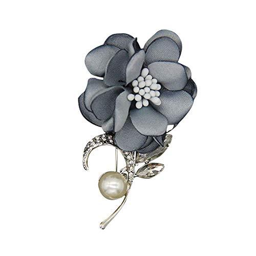 Fliyeong Broche de tela de flores para mujer, chapado en plata de ley con circonita cúbica, accesorio para ramo de Navidad de calidad premium