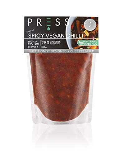 Press, Spicy Vegan Chilli, Vegan Ready Meal for One, Low Calorie Food for Managing Weight, Chef Prepared Healthy Meals