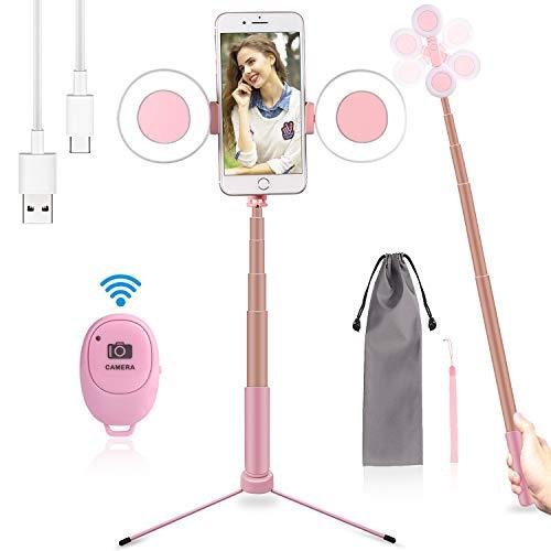 iEGrow 3in1 Led Ring Light Selfie Ring Light USB Led Anello con Selfie Stick Bluetooth e Stativo di Luce ad Anello LED per Smartphone, Foto, Makeup, Live Broadcast