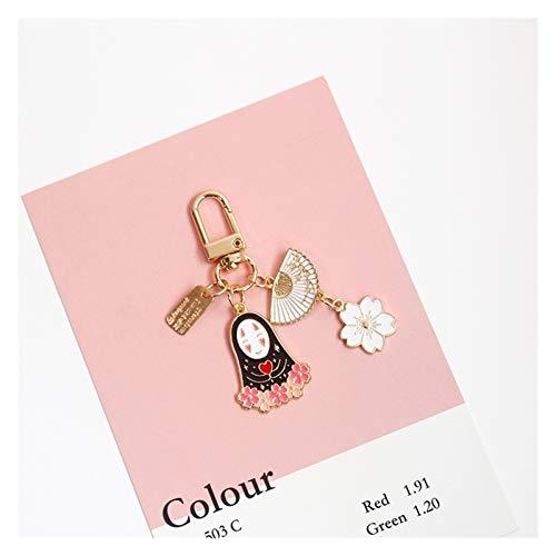 Gzjdtkj Llavero de Coche Llavero de Color Oro for Las Mujeres llaveros Anillo del Coche Bolsa Pendientes de Accesorios Charm (Color : Sakura A)