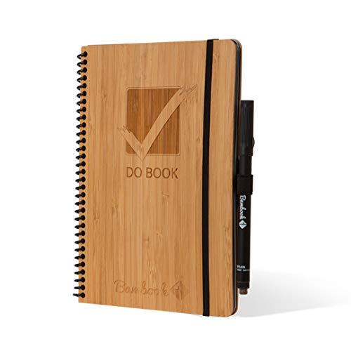Bambook DO-BOOK Whiteboard-Notizbuch A5 mit Stift - To-Do Liste mit Monats-, Wochen- und Tagesplaner, Blanko & linierte Seiten - Bambus-Holz Hardcover - Nachhaltig & Wiederverwendbar