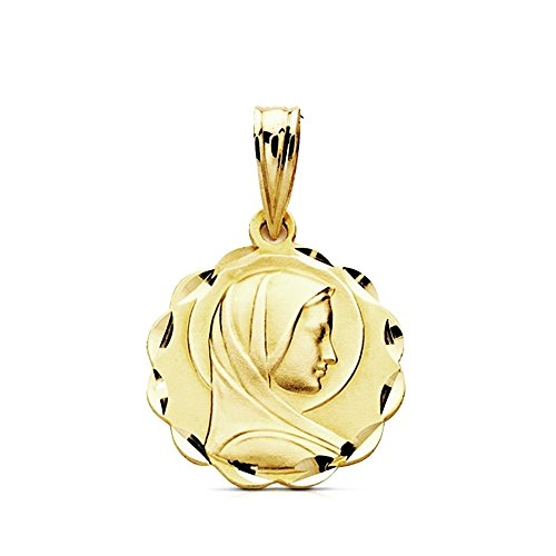Medalla oro 9k Virgen María Francesa 15mm. ligera [AB3243]