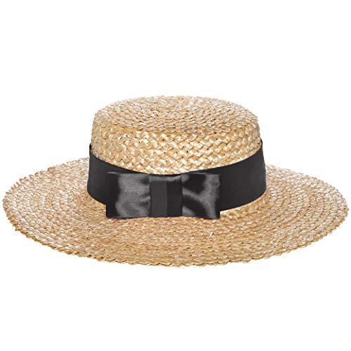 Coucoland Damen Strohhut mit Band Kreissäge Hut Breiter Krempe Sommer Strand Sonnenhut Damen Fedora Hut (Schwarz)